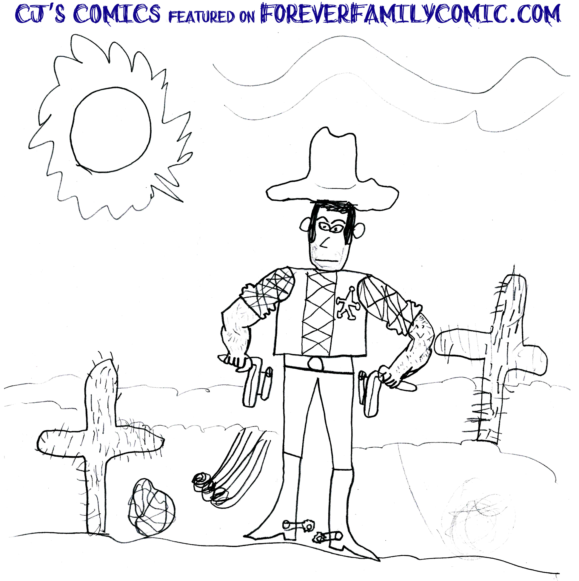 CJ's Cowboy drawing at ForeverFamilyComic.com